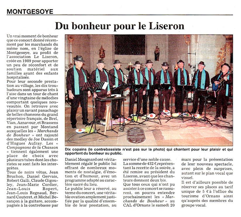 Les marchands de bonheur à Montgesoye au profit de l'association Le Liseron